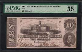 1862 10 Confederate States of America Note T52 PMG