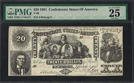 1861 20 Confederate States of America Note T20 PMG