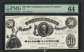 1861 50 Confederate States of America Note T8 PMG