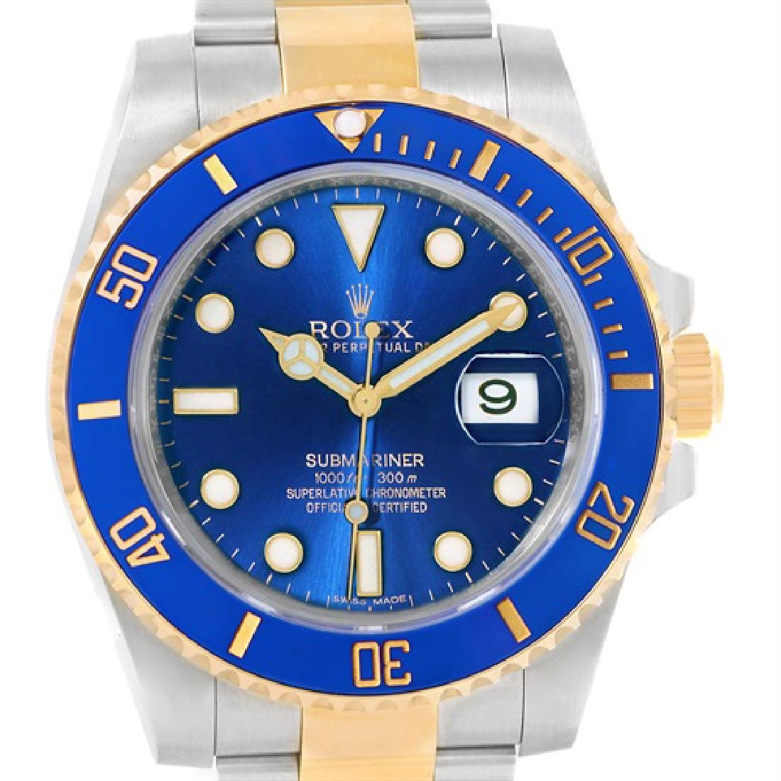 Rolex Submariner Steel 18K Yellow Gold Blue Dial Mens