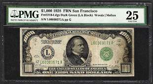 1928 $1,000 Federal Reserve Note San Francisco