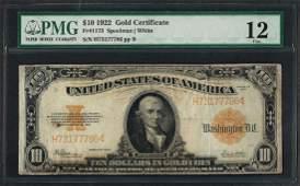 1922 $10 Gold Certificate Note Fr.1173 PMG Fine 12