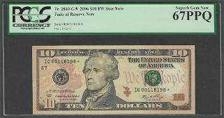2006 $10 Federal Reserve STAR Note Fr.2040-G* PCGS