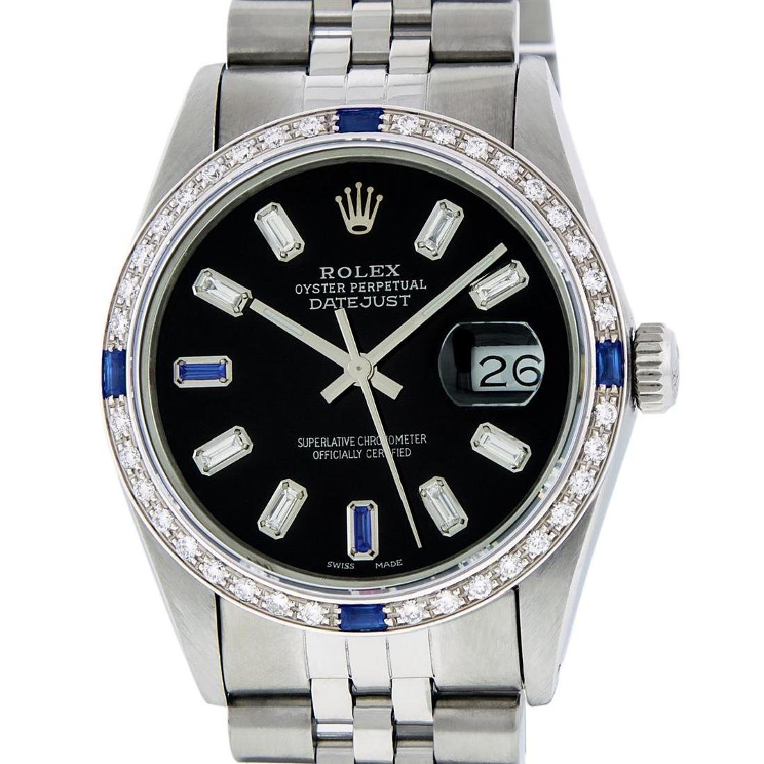 Rolex Men's Stainless Steel Black Baguette Diamond Dial