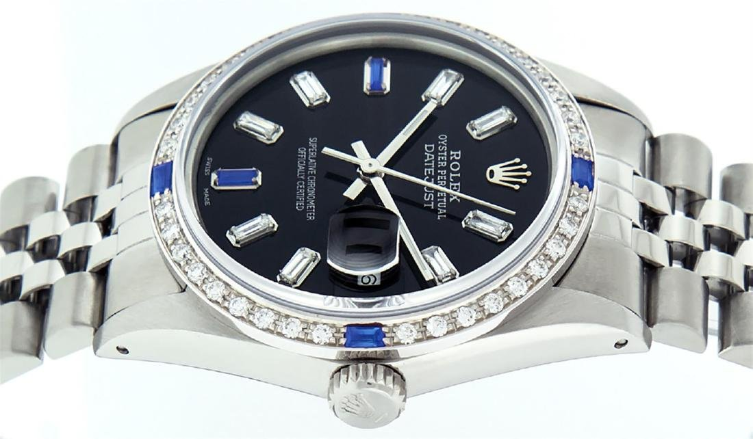 Rolex Men's Stainless Steel Black Baguette Diamond Dial - 7