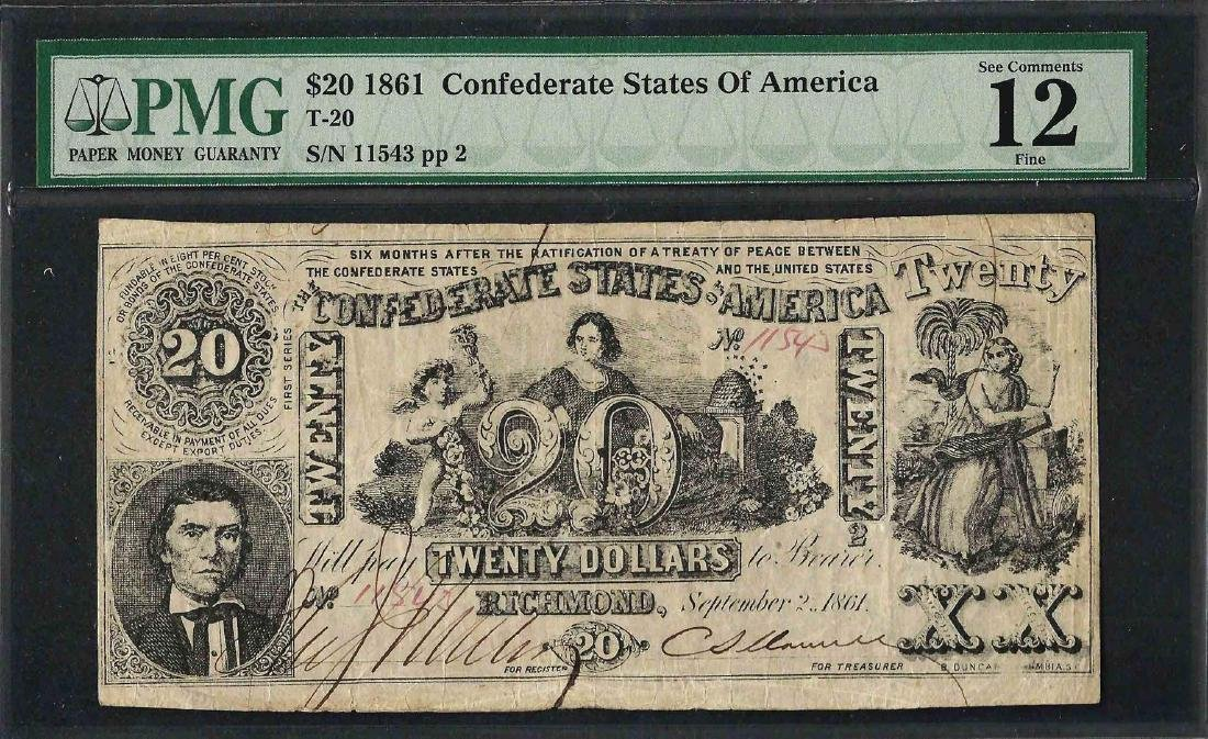1861 $20 Confederate States of America Note T-20 PMG
