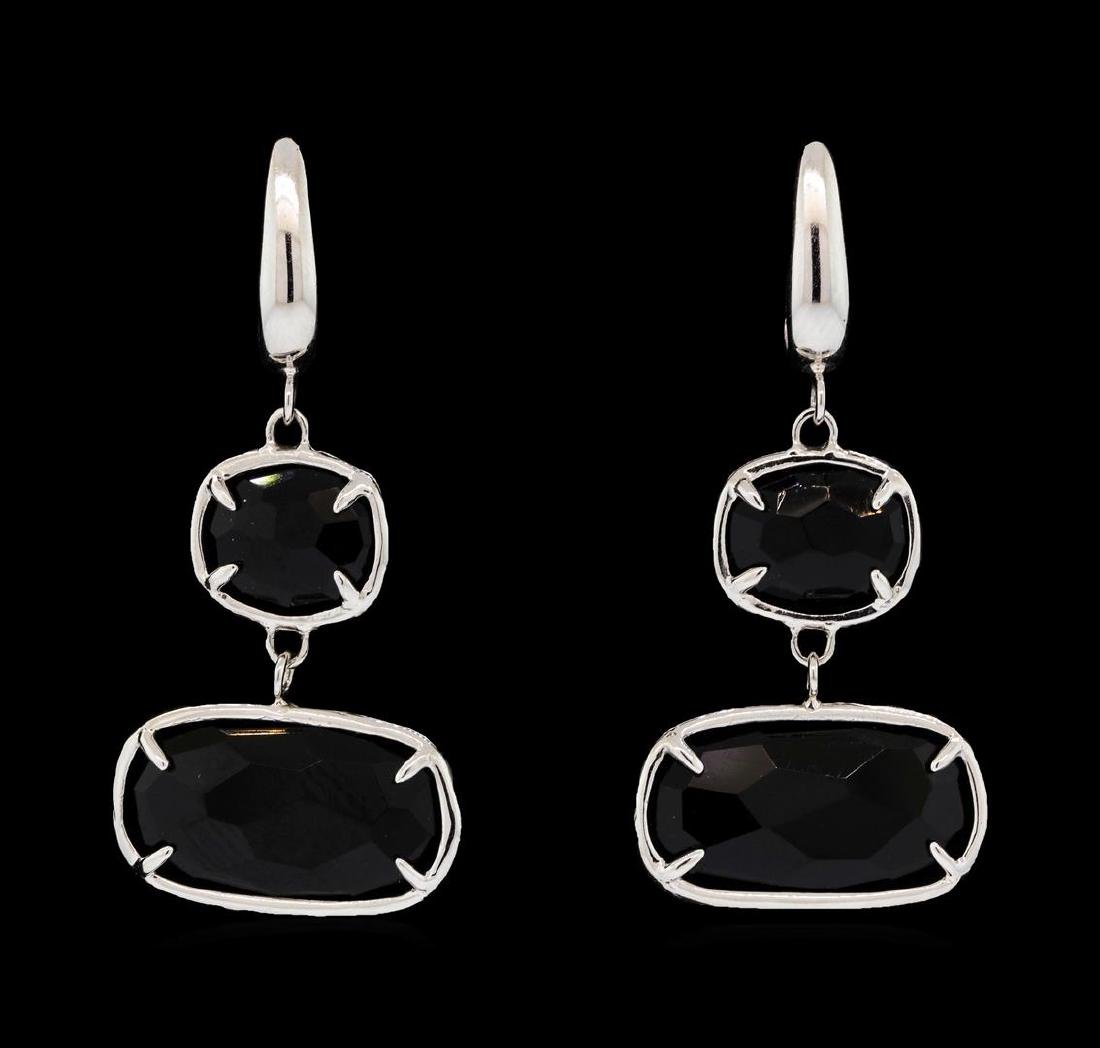 14KT White Gold Ladies Faceted Black Gemstone Dangle