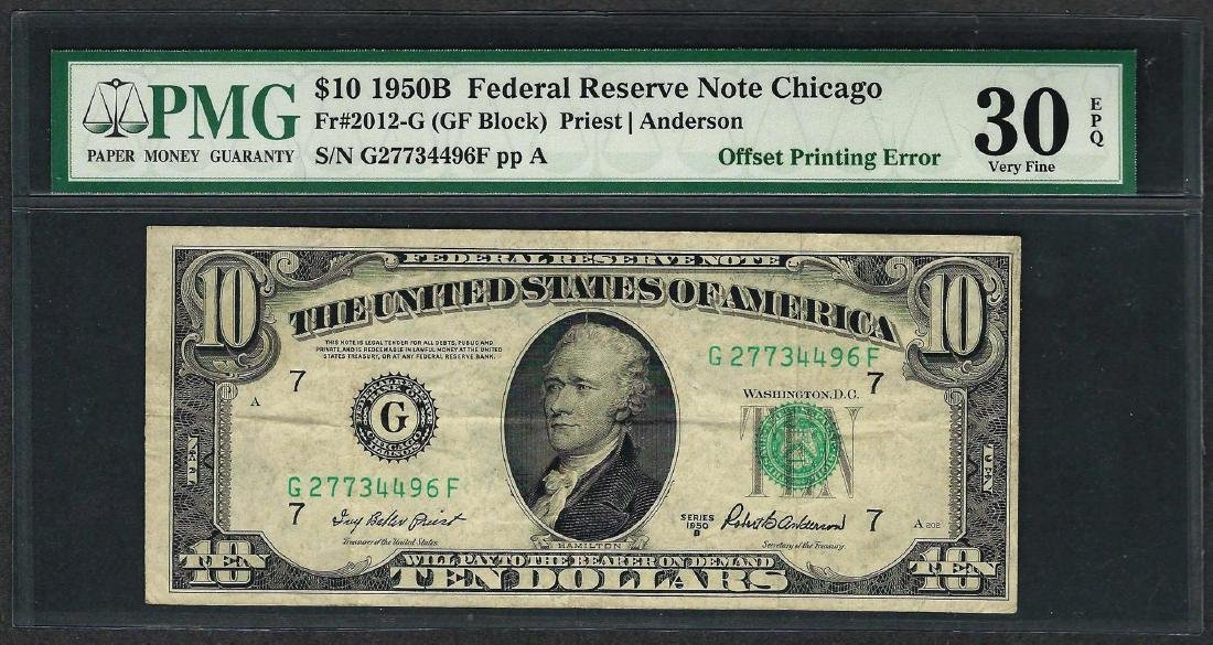 1950B $10 Federal Reserve Note ERROR Offset Printing