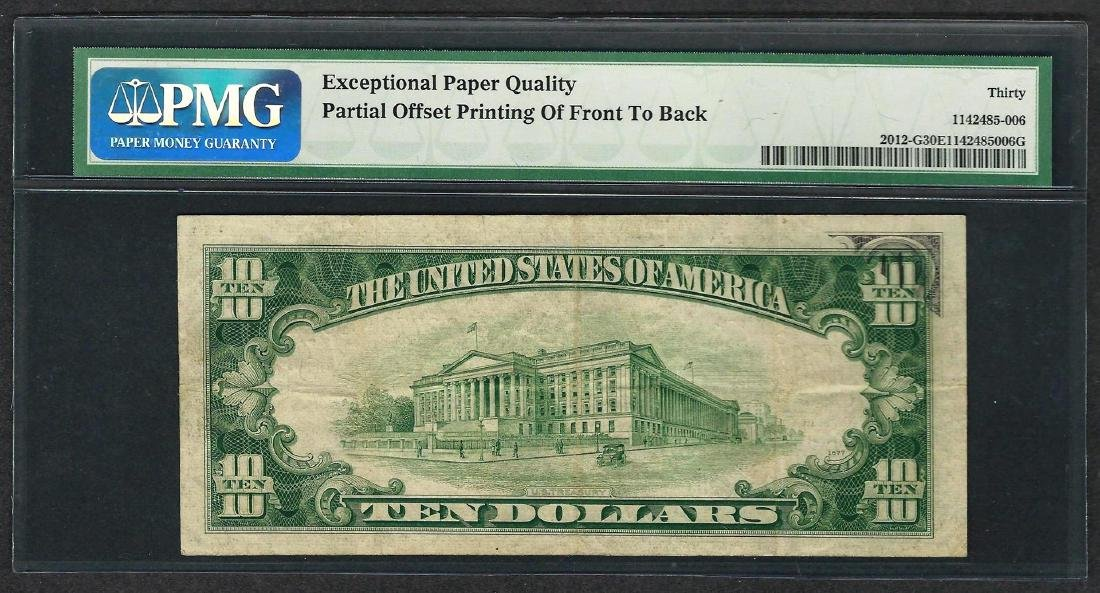 1950B $10 Federal Reserve Note ERROR Offset Printing - 2