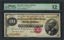 1882 $20 Gold Certificate Note Fr.1178 PMG Fine 12