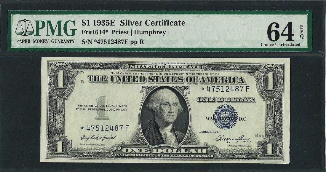 1935E $1 Silver Certificate STAR Note Fr.1614* PMG
