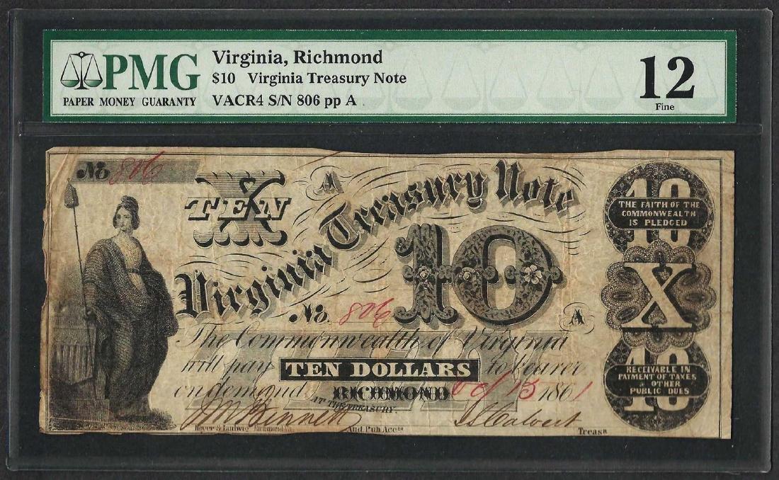 1861 $10 Virginia Treasury Note Obsolete Note PMG Fine