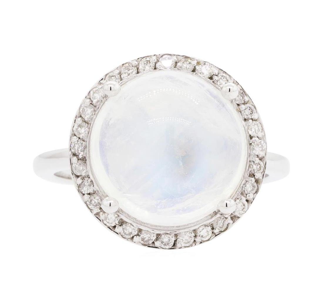14KT White Gold Lady's 6.93 ctw Moonstone and Diamond