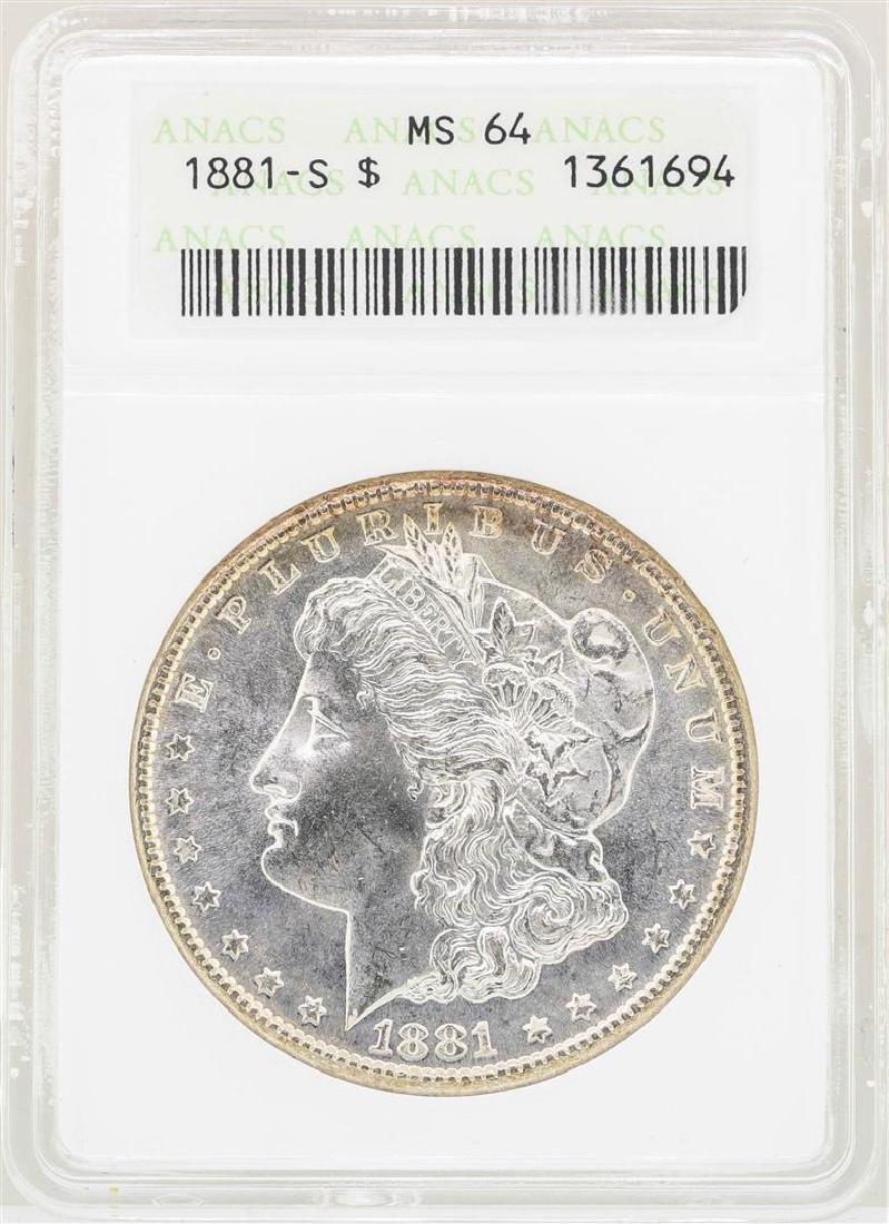 1881-S $1 Morgan Silver Dollar Coin ANACS MS64