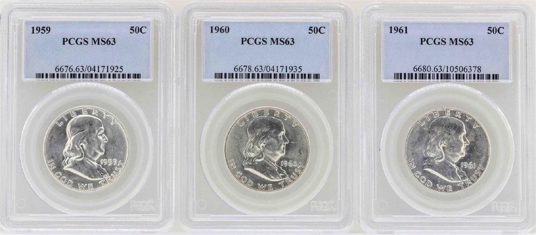 Set of 1959-1961 Franklin Half Dollar Coins NGC MS63