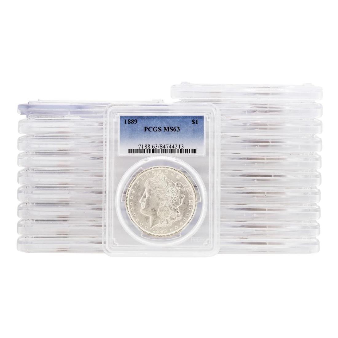 Lot of (20) 1889 $1 Morgan Silver Dollar Coins PCGS