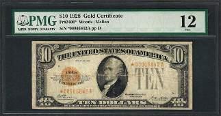 1928 $10 Gold Certificate STAR Note Fr.2400* PMG Fine