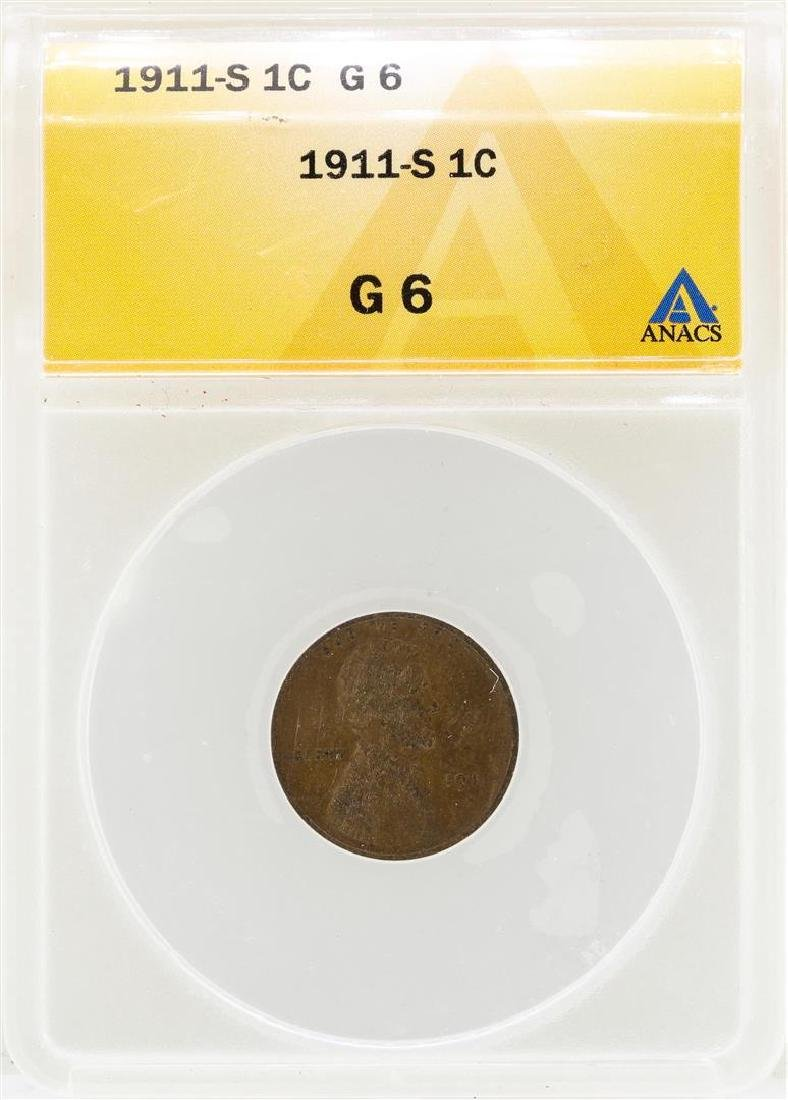 1911-S Lincoln Wheat Penny Coin ANACS G6