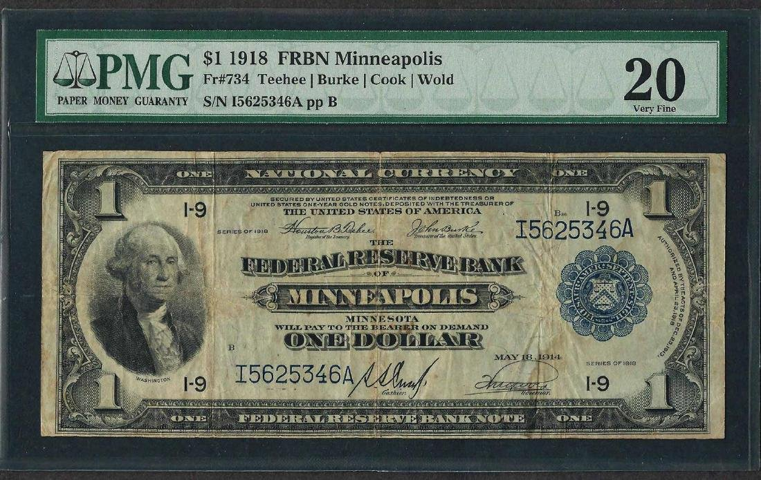 1918 $1 Federal Reserve Bank Note Minneapolis Fr.734