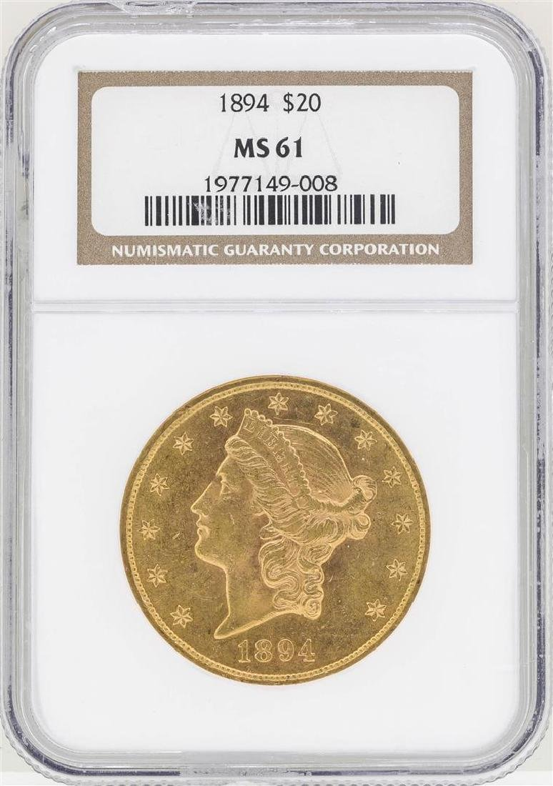 1894 $20 Liberty Head Double Eagle Gold Coin NGC MS61