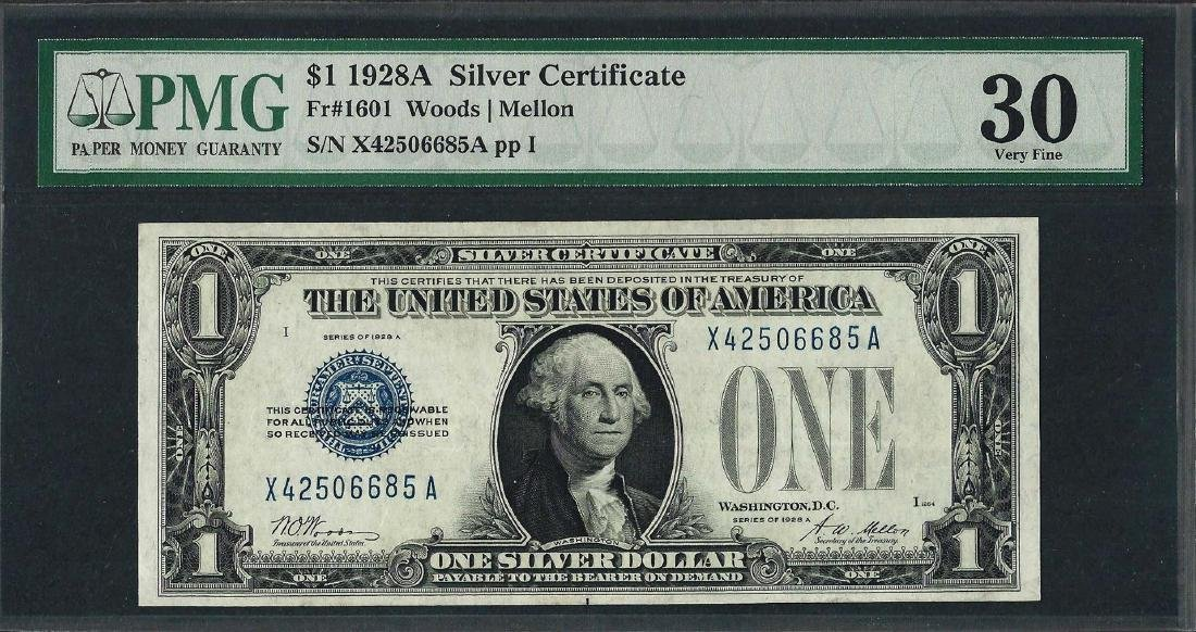 1928A $1 Funnyback Silver Certificate Note Fr.1601 PMG
