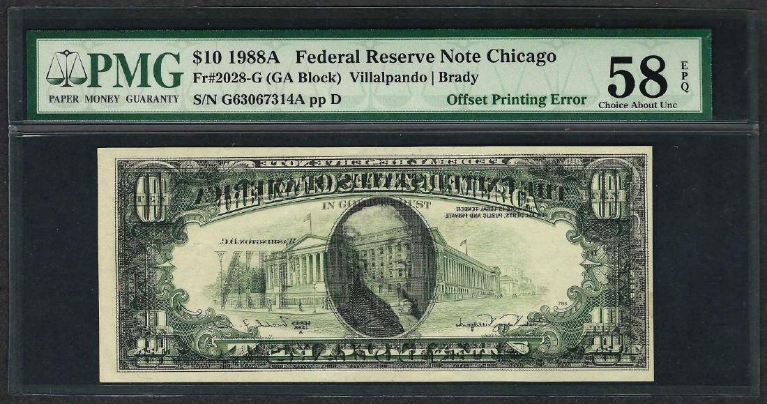 1988A $10 Federal Reserve Note ERROR Offset Printing