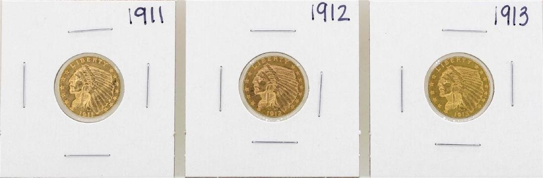 Lot of 1911-1913 $2 1/2 Indian Head Quarter Eagle Gold