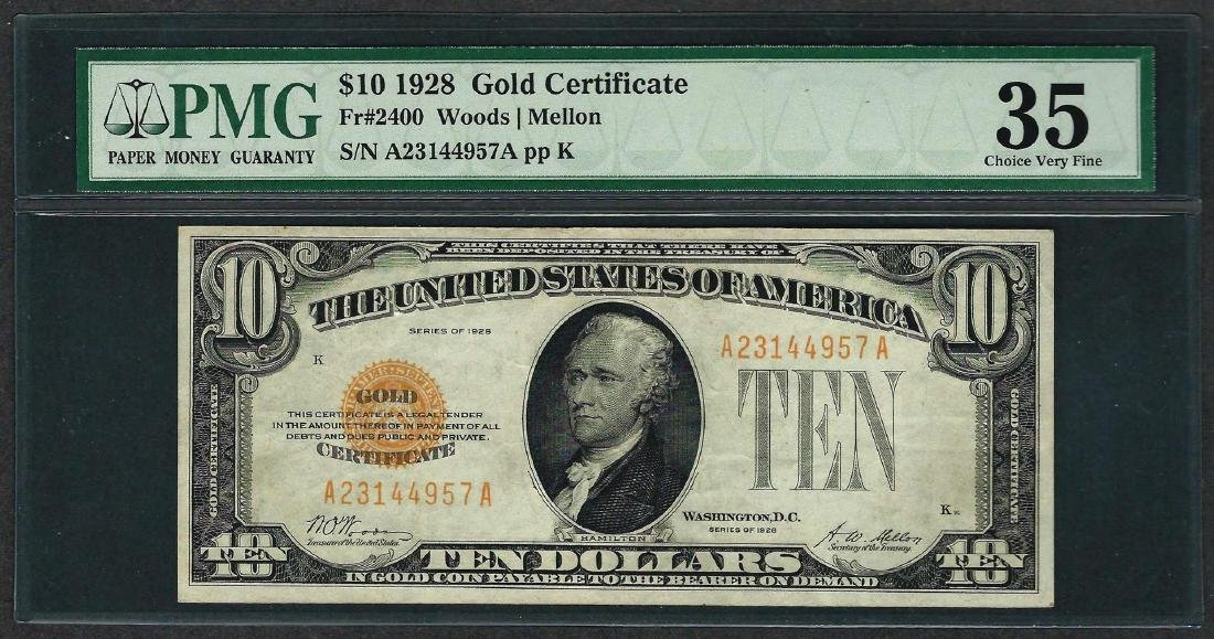 1928 $10 Gold Certificate Note Fr.2400 PMG Choice Very