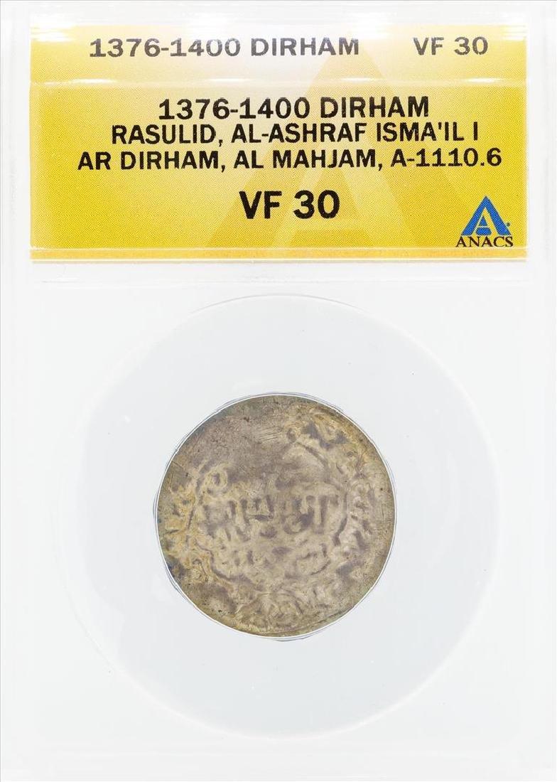 1376-1400 Dirham Rasulid Al Ashraf Isma IL I AL Mahjam