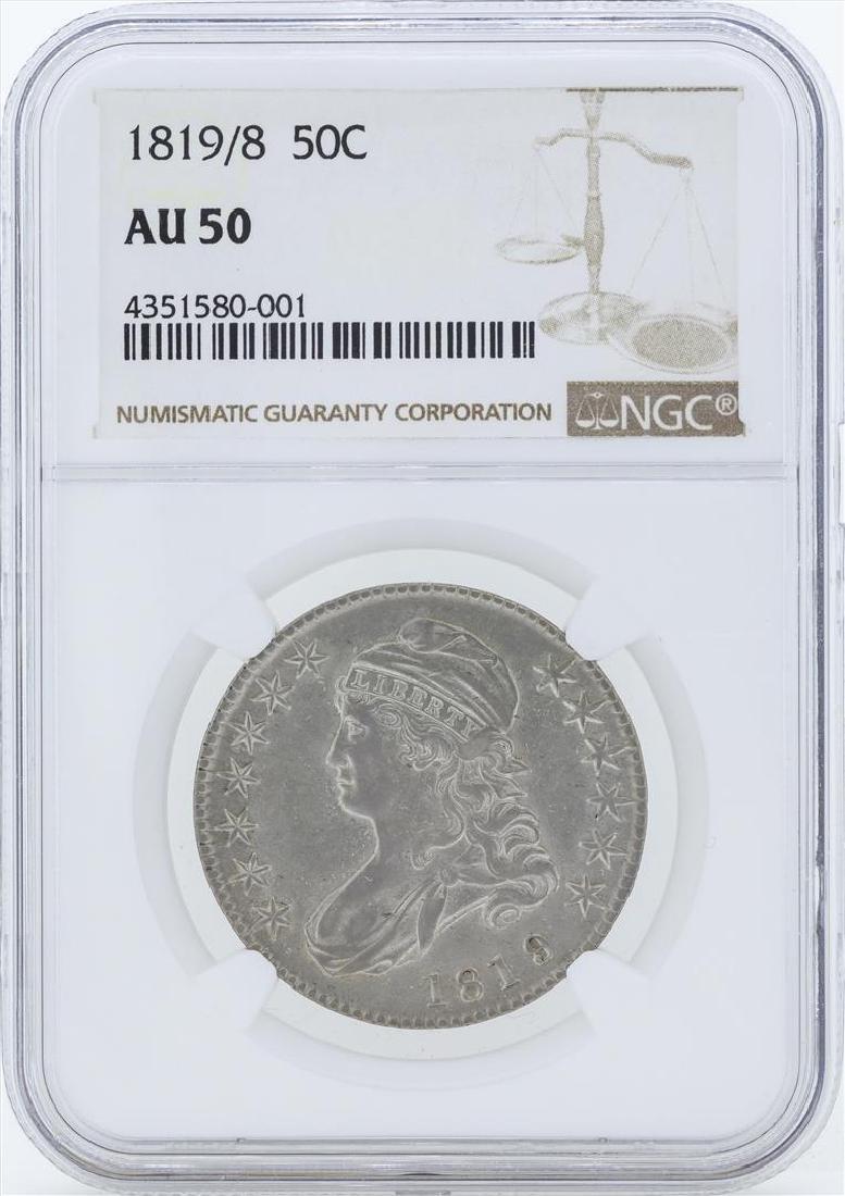 1819/8 Capped Bust Half Dollar Coin NGC AU50