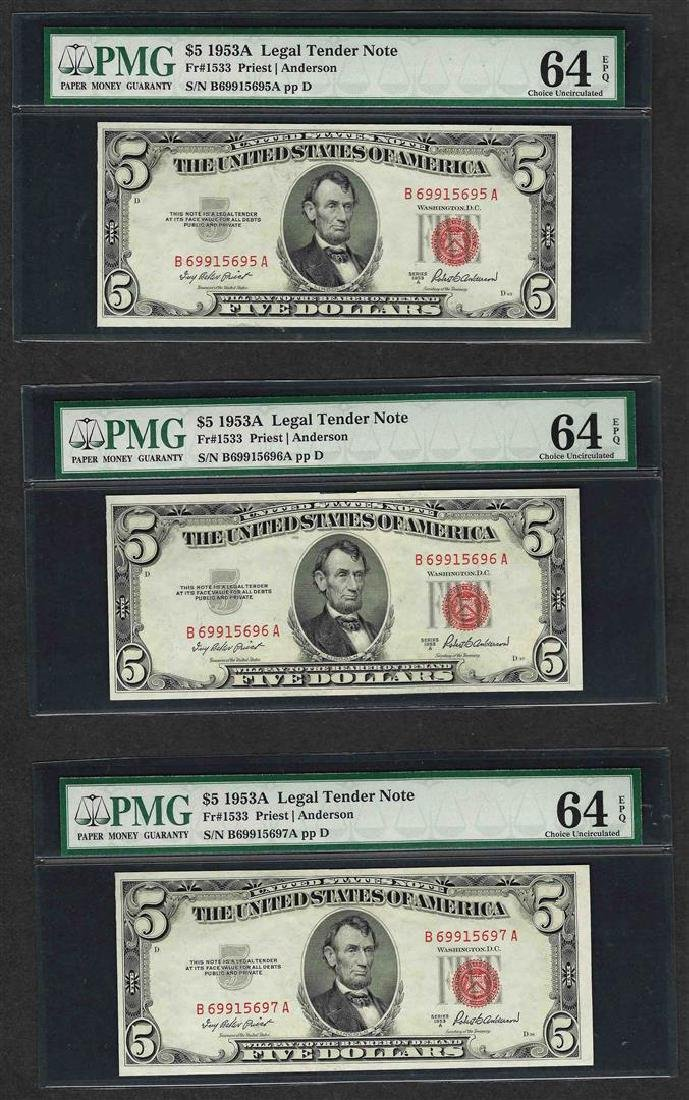 Lot of (3) Consecutive 1953A $5 Legal Tender Notes PMG