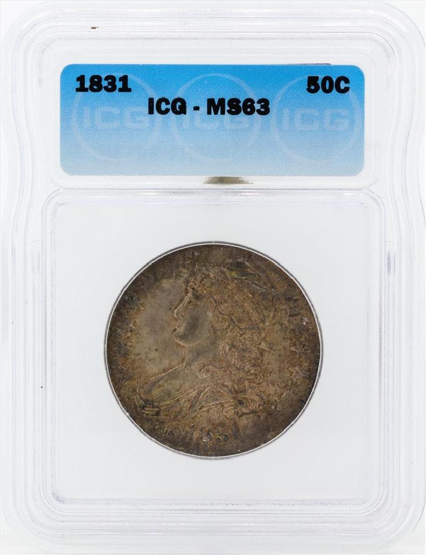1831 Capped Bust Half Dollar Coin ICG MS63