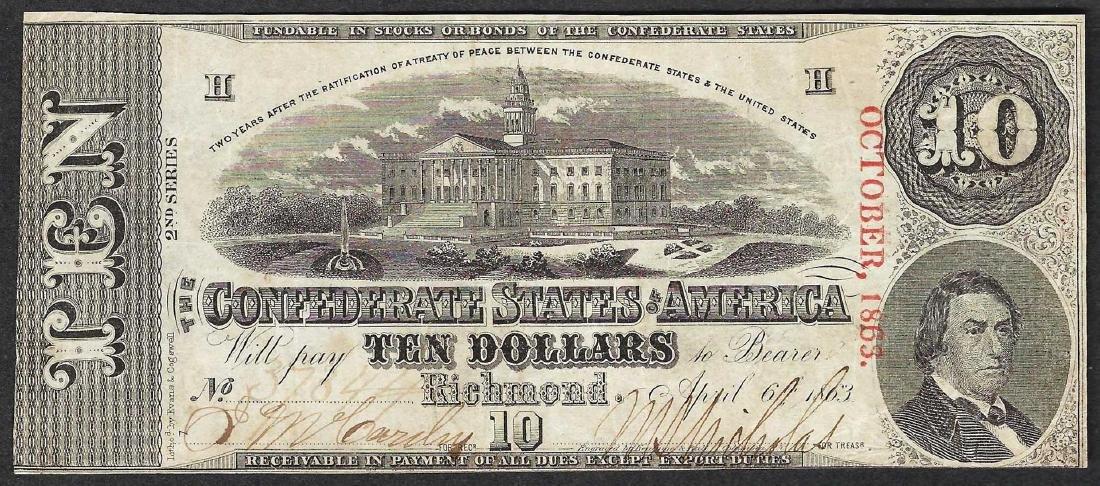 1863 $10 Confederate States of America Note