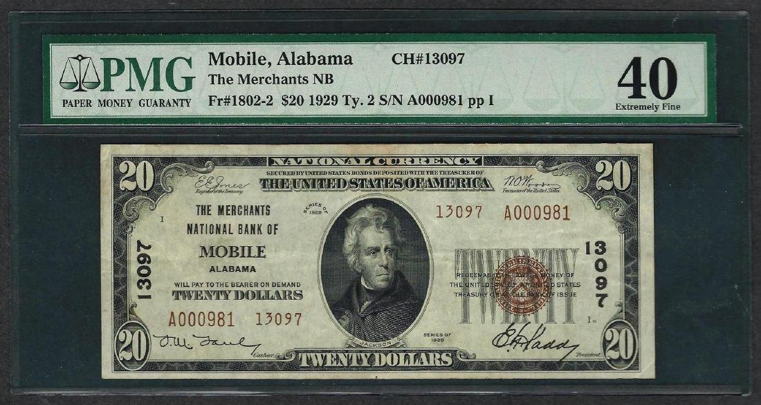 1929 $20 National Currency Note Mobile, Alabama CH#