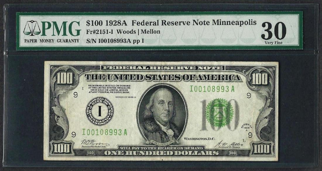 1928A $100 Federal Reserve Note Minneapolis Fr.2151-I