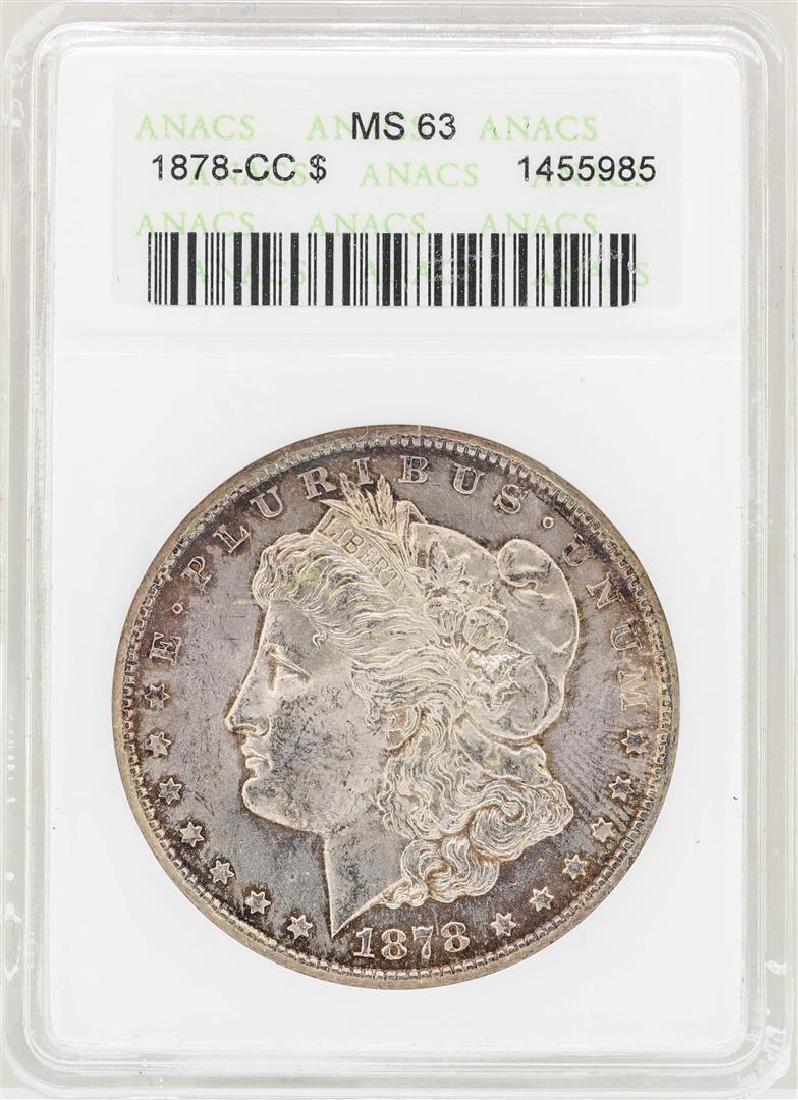 1878-CC $1 Morgan Silver Dollar Coin ANACS MS63