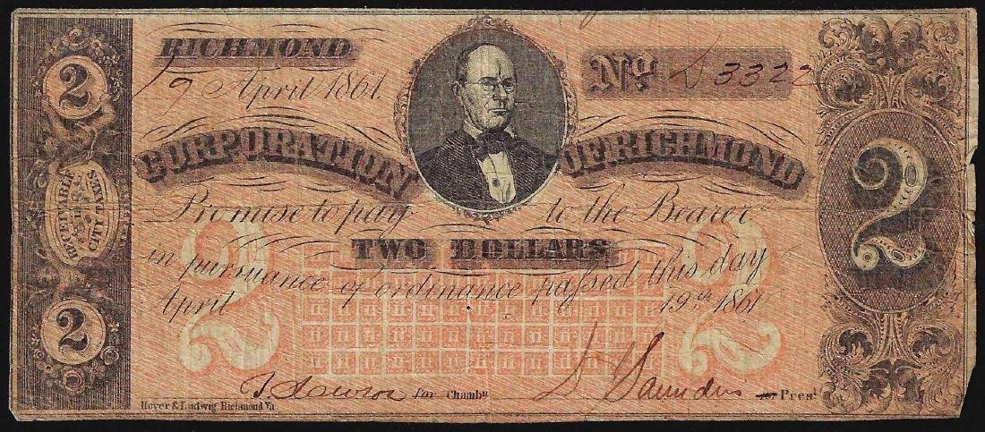 1861 $2 Corporation of Richmond Obsolete Bank Note