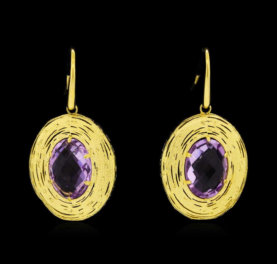 14KT Yellow Gold Ladies Amethyst Dangle Earrings