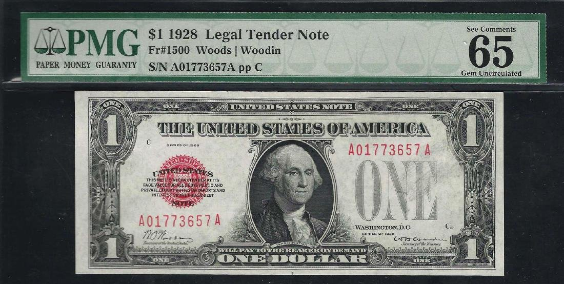 1928 $1 Legal Tender Note Fr.1500 PMG Gem Uncirculated
