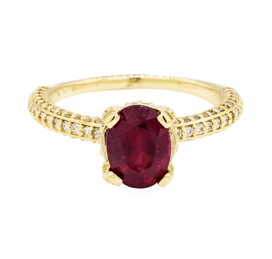 14KT Yellow Gold 1.67 ctw Ruby and Diamond Ring - 2