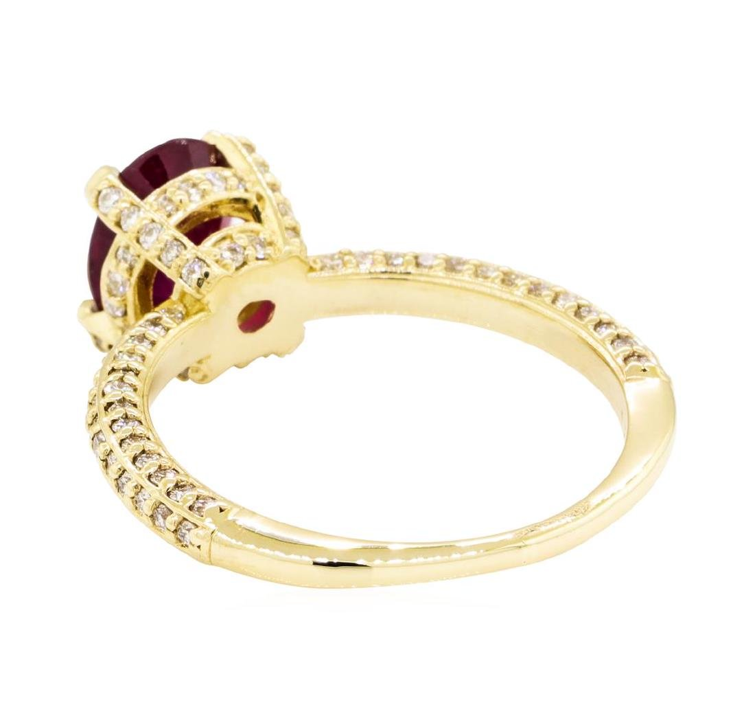 14KT Yellow Gold 1.67 ctw Ruby and Diamond Ring - 3