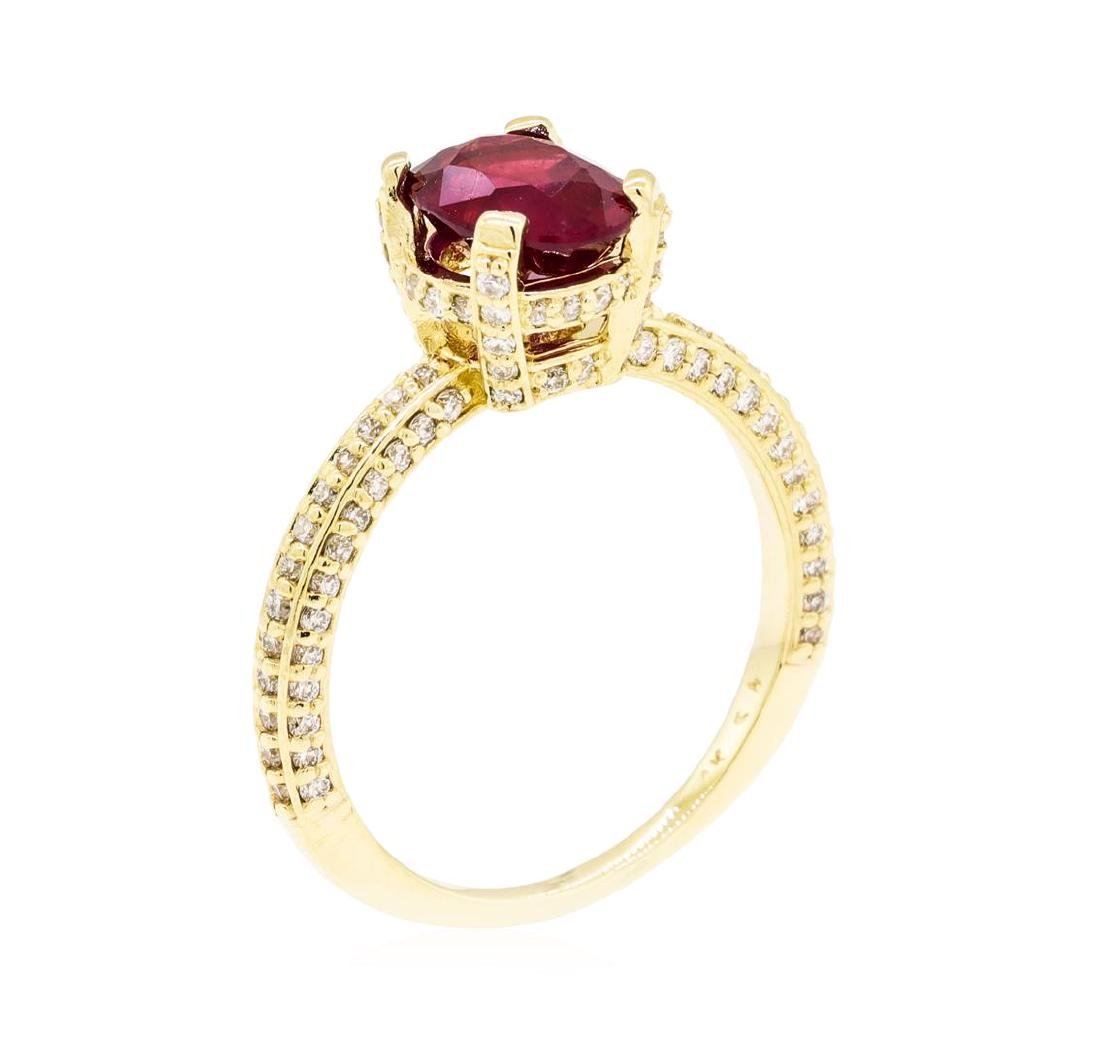 14KT Yellow Gold 1.67 ctw Ruby and Diamond Ring - 4