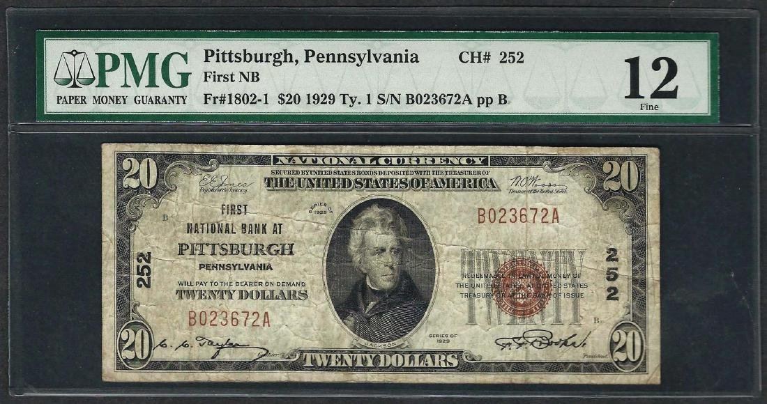 1929 $20 National Currency Note Pittsburgh,