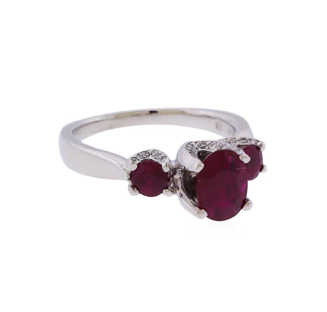 Platinum 0.75 ctw Ruby and Diamond Ring