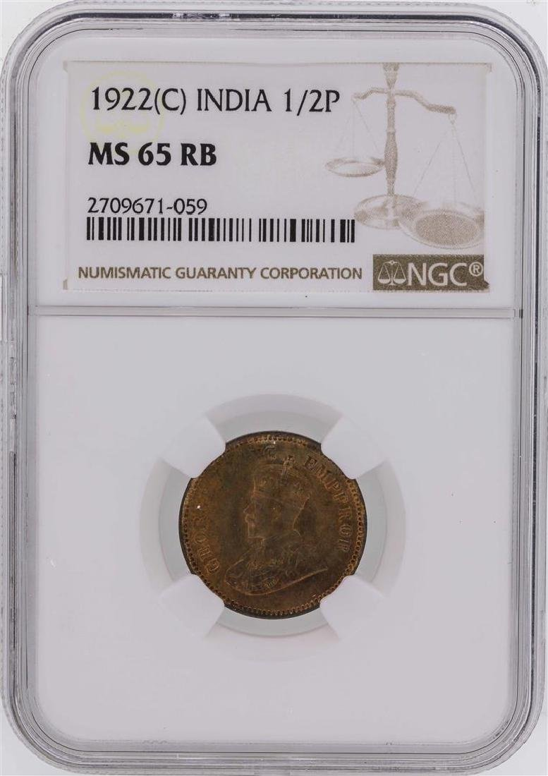 1922(C) India 1/2 Pice Coin NGC MS65RB
