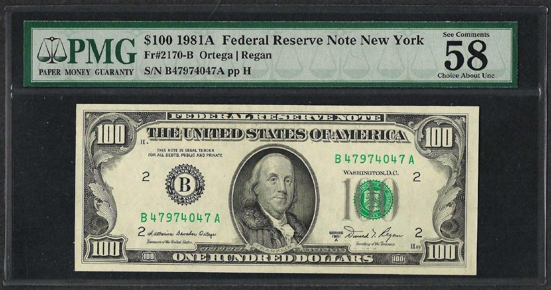 1981A $100 Federal Reserve Note New York Fr.2170-B PMG