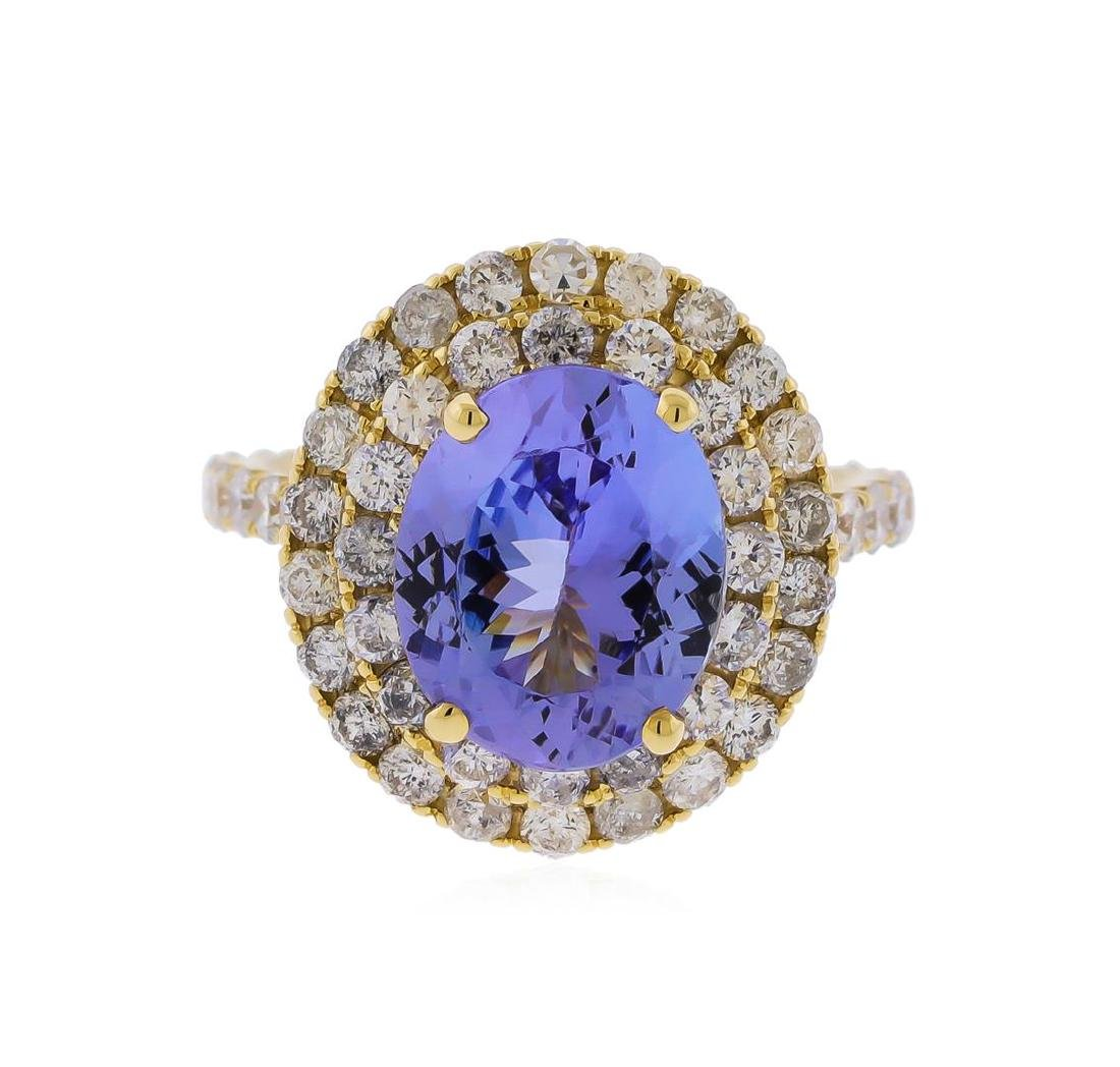 14KT Yellow Gold 3.63 ctw Tanzanite and Diamond Ring