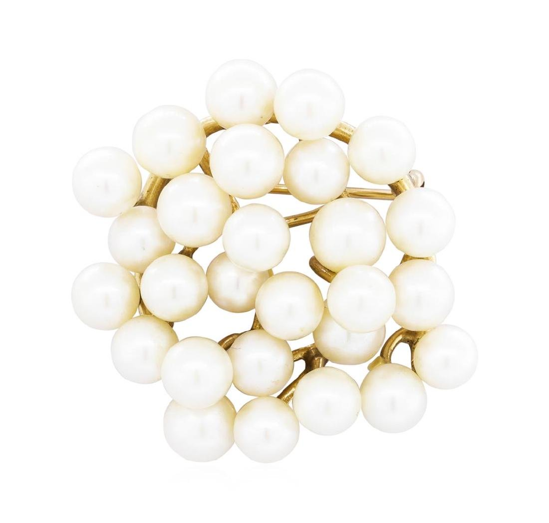 14KT Yellow Gold Pearl Brooch