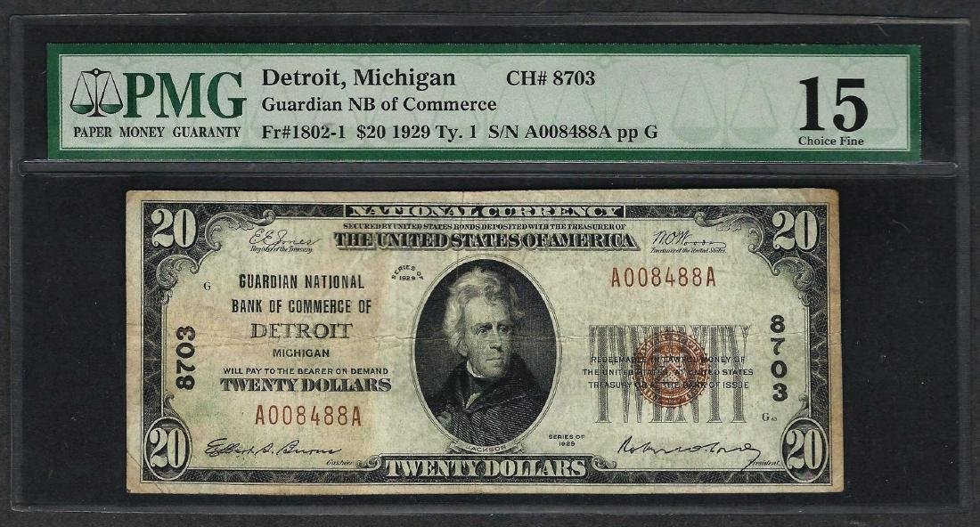 1929 $20 National Currency Note Detroit, Michigan CH#