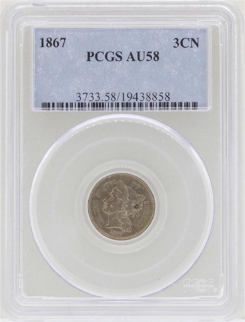 1867 3 Cent Nickel Coin PCGS AU58
